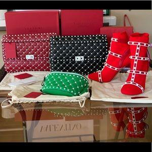 Valentino Red Rockstud Bag large new 🔥❤️$3195+tax